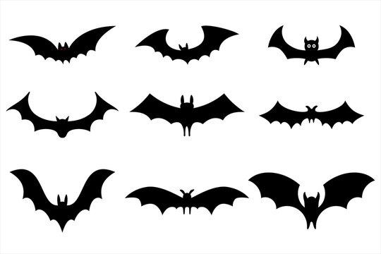 Set of black bat for Halloween party. Design brochure banner website