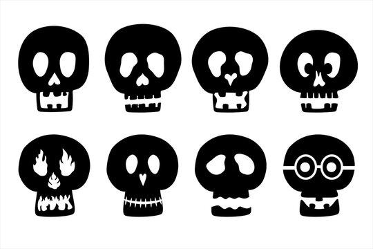 Set of black skull for Halloween party. Design brochure banner flyer website