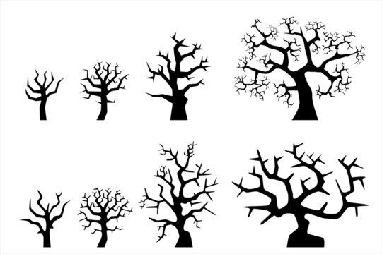 Set of black dead tree for Halloween party design banner brochure website