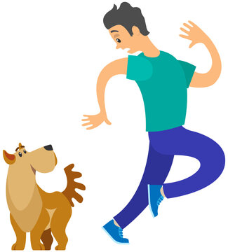 Man frightened by dog suffers from cynophobia, human fear concept. Person looking scared at dog is afraid of animal. Male character shaking, trembling with fear of dogs isolated on white background