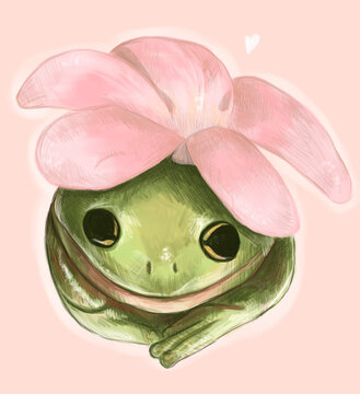 Sketch digital green frog with pink flower. Hand drawn illustration. Animal silhouette. Wildlife art, graphic for fabric, postcard, greeting card, book