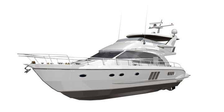 3d weiße Yacht, Luxusyacht weiß mit Radar für Navigation, isoliert