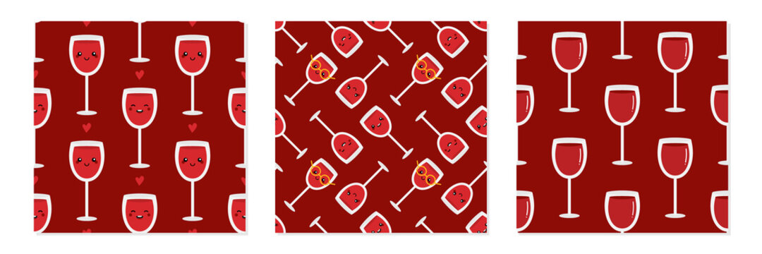Set, collection of three vector seamless pattern backgrounds with red wine glass characters and glasses of wine for drinks and beverages design.