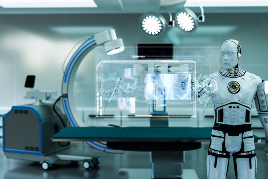 robot working in operation room, robot touching screen and viewing x-ray image