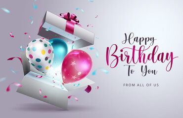 Fototapeta Happy birthday vector design. Happy birthday to you text with surprise element like balloons, gift and confetti  decoration for birth day celebration greeting card. Vector illustration  obraz