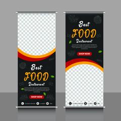 Fototapeta shop, Food and restaurant rollup, or x banner design template obraz