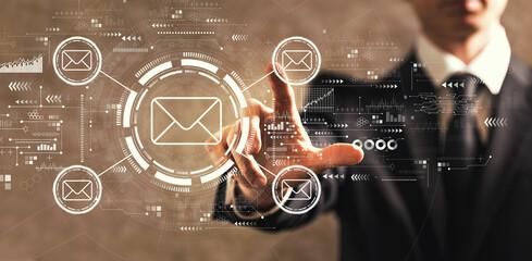 Fototapeta Email concept with businessman obraz