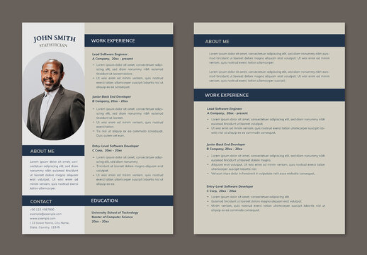 Editable Resume Layout in Simple Style