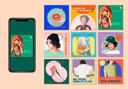 Style and Fashion Layout Set for Social Media Ads