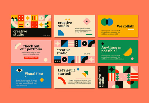 Editable Blog Banner Layout Bauhaus Design Set