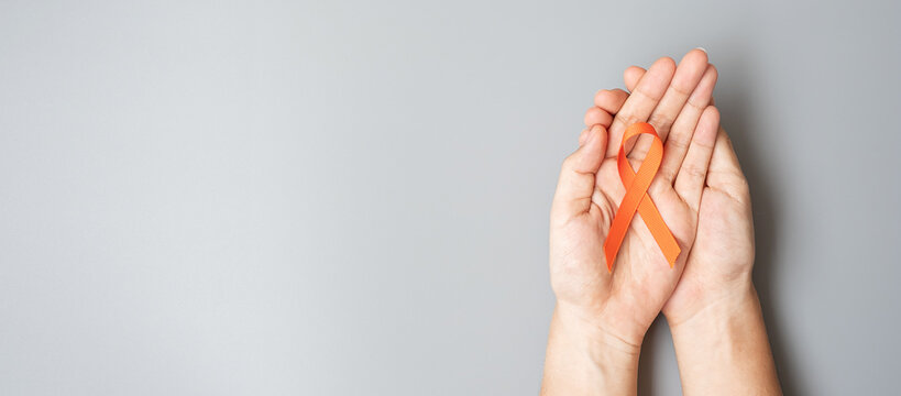 Leukemia, Kidney cancer day, world Multiple Sclerosis, CRPS, Self Injury Awareness month, Orange Ribbon for supporting people living and illness. Healthcare and World cancer day concept