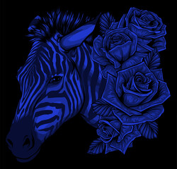 vector illustration with cute zebra with roses