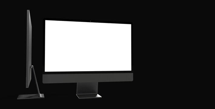 Workspace blank screen desktop computer, Mockup computer background dark black