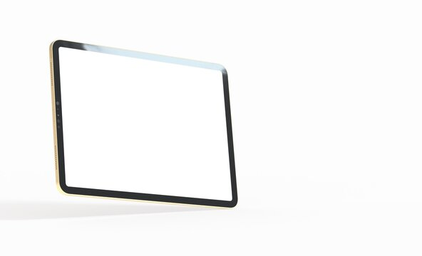 3D tablet with empty screen isolated digital white