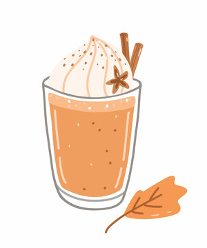 Autumn coffee drink - pumpkin spice latte with whipped cream and cinnamon. Vector hand-drawn illustration in cartoon flat style. Perfect for cards, invitations, decorations, menu, holiday designs.
