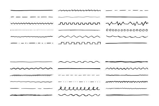 Hand drawn line set for brush. Doodle scribble pen stroke style. Vector illustration for border, frame.