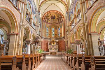 VIENNA, AUSTIRA - JUNI 18, 2021: The nave ot the Herz Jesu church.