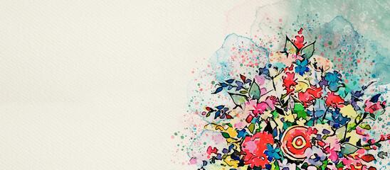 Fototapeta Bouquet of flowers. Watercolor greeting card obraz