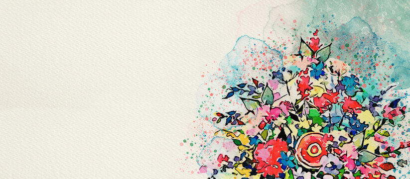 Bouquet of flowers. Watercolor greeting card