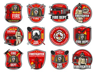 Fototapeta Firefighting icons, heraldic symbols, vector protective helmet and gas mask, fire axe and shovel. Extinguisher, hydrant and fire truck with walkie talkie. Firefighter labels or badge of department set obraz