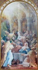 VIENNA, AUSTIRA - JUNI 24, 2021: The painting of Pentecost in the church Kalvarienbergkirche by Hans Alexander Brunner (1962).