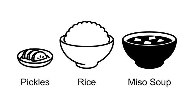 Japanese food, rice, miso soup, pickled radish.