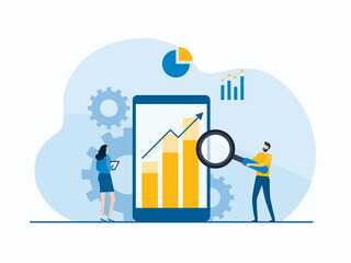 Fototapeta business people analytics and monitoring report dashboard on mobile phone monitor concept and vector illustration design for web landing banner background obraz