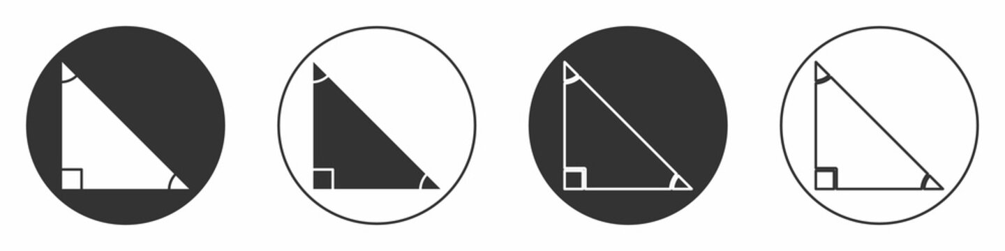 Black Triangle math icon isolated on white background. Circle button. Vector