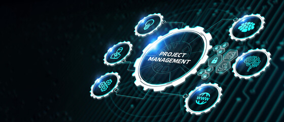 Obraz Project management concept. Business, Technology, Internet and network concept. - fototapety do salonu