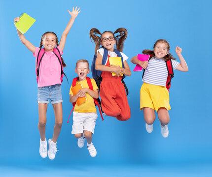 Cheerful schoolkids  having fun