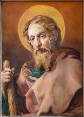 VIENNA, AUSTIRA - JULI 5, 2021: The painting of St. Jude Thaddeus of baroque st. Peter church or Peterskirche by unknown artist of 20. cent.