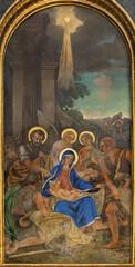 VIENNA, AUSTIRA - JULI 5, 2021: The fresco of Adoration of shepherds in orthodox Barbarakirche church by Svjatoslav Hordynskyj (1983–1985).