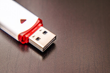 USB flash card with white color close-up
