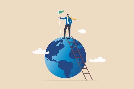 Winning world or global business success, international opportunity to grow and expand business, worldwide career development concept, success businessman climb up ladder holding winning flag on globe