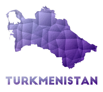 Map of Turkmenistan. Low poly illustration of the country. Purple geometric design. Polygonal vector illustration.