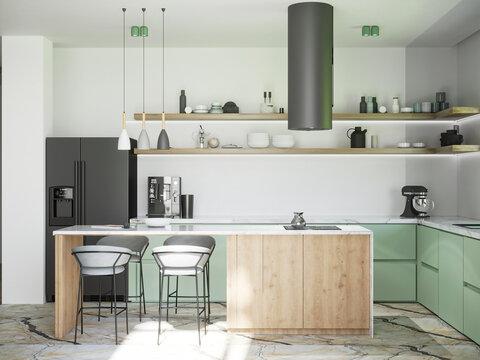 3d rendering of modern wooden and olive kitchen interior design