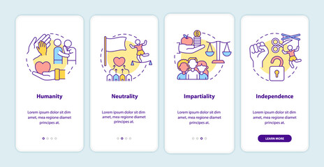 Fototapeta Humanitarian aid onboarding mobile app page screen. Humanity, impartiality walkthrough 4 steps graphic instructions with concepts. UI, UX, GUI vector template with linear color illustrations obraz