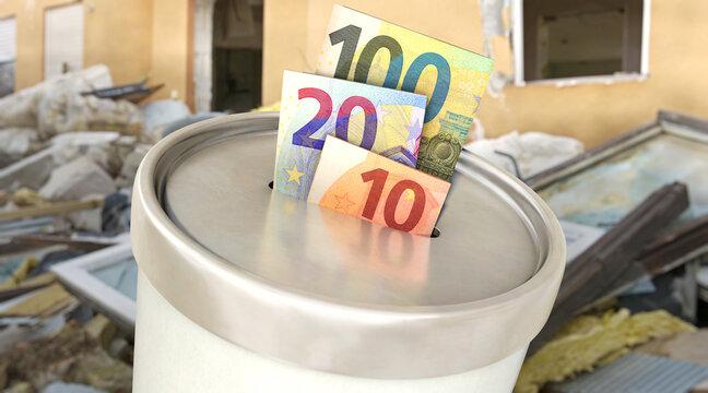 Spendendose mit Euroscheinen vor Hausruine