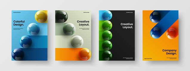 Fototapeta Minimalistic company brochure A4 vector design layout bundle. Amazing 3D spheres catalog cover template composition. obraz