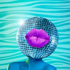 Modern design, contemporary art collage. Inspiration, idea, trendy urban magazine style. Female...