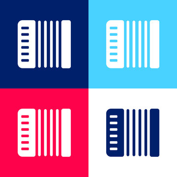 Acordeon blue and red four color minimal icon set