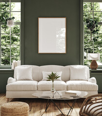 Fototapeta Poster frame mock-up in home interior background with sofa, table and decor in living room, 3d render obraz