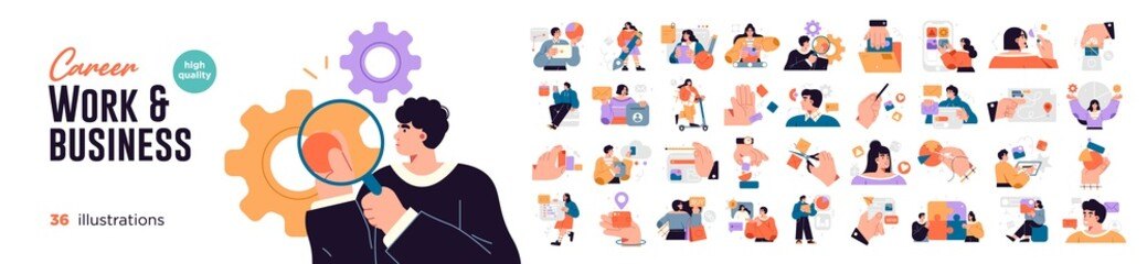 Business Concept illustrations. Mega set. Collection of scenes with men and women taking part in business activities. Vector illustration