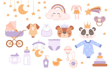 Obraz Set of cute boho baby objects in scandinavian plain pastel style on white background. Poster with beautiful items for little kids and mothers, nursery room decor. Flat cartoon vector illustration - fototapety do salonu