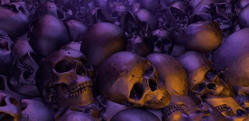 Apocalyptisch landschap met menselijke schedels. 3D-rendering