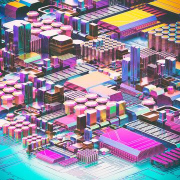 Retro futurism city circuit cartoon with gradient gem hologram
