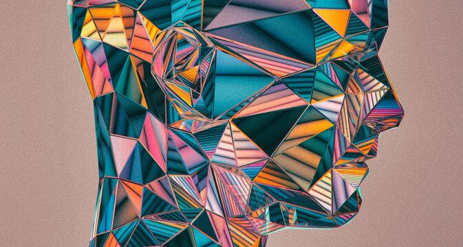 Reflective iridescent crystal retro geometric gradient portrait