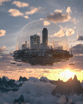 Smart city future biome floating in the clouds landscape