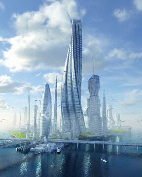 Sustainable future glass city urban planning world building