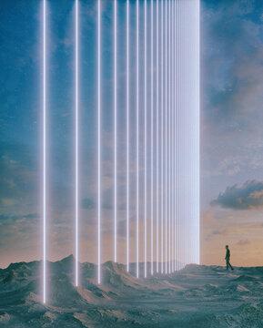 Light beam blocker wall desert landscape adventure human cartoon